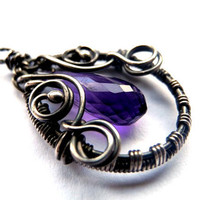 Amethyst silver PENDANT, wire wrapping, delicate purple heather plum, teardrop natural stone, unique fashion gift