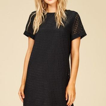Mesh Shirt Dress, Black