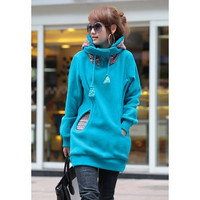 Blue Drawstring Hood Long Sleeves Hoody