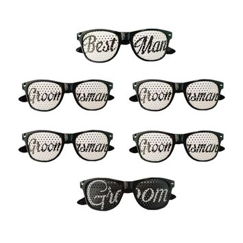 Groom Best Man Groomsman Party Favors Bachelor Party Wedding Party Sunglasses Kit Set of 6 Pairs Novelty Glasses