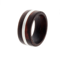 Mens Wedding Band, Rosewood Ring, Sterling Silver, Wood Jewelry
