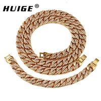Mens Thick Miami Cuban Link Chain Set Alloy Material Iced Out Rhinestone Cuban chain Necklace 30inch & cuban bracelet 8inch