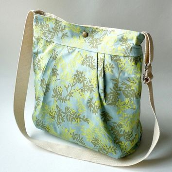 DALIDA Turquoise with mint green leaves French Bag 8 by ikabags