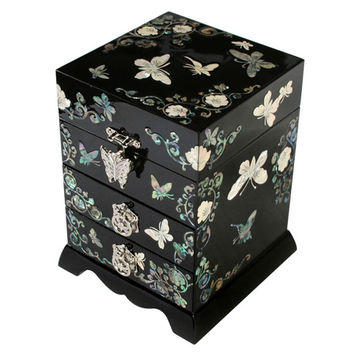 Mother of Pearl Inlay Luxury Butterfly Lacquer Wood Korean Jewelry Trinket Keepsake Treasure Ring Display Box Chest Organizer