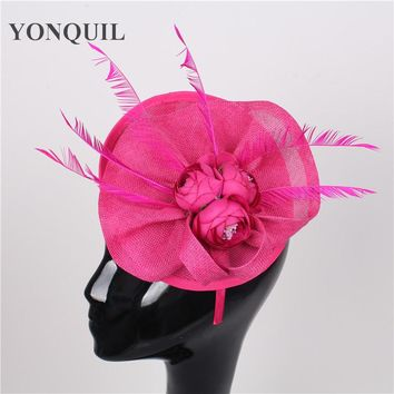 High quality 15color hot pink silk flower headwear sinamay fascinators hats wedding hair accessories party hat bridal headpieces