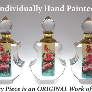 Romantic Tea Rose Perfume Bottle Collectible - Hand-Painted Art Glass, PBA04-471