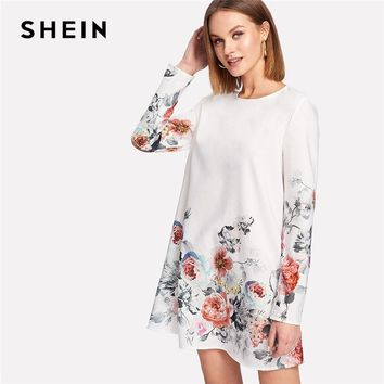 SHEIN Flower Print Keyhole Back Dress Round Neck Long Sleeve Button Shift Short Dress 2018 Spring New Women Casual Dress