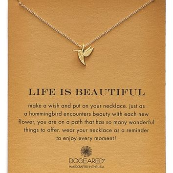Women's Dogeared 'Reminder - Life is Beautiful' Hummingbird Pendant Necklace - Gold
