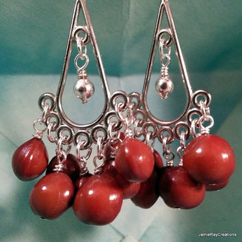 Red Sandalwood Seed Earrings on Silver Tone Chandelier Component - Gypsy Boho Earrings - Red Bahay Seed Chandelier Earrings