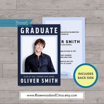 Blue Modern Graduation Party Invitation, Photocard Graduation Invitation, Graduation Announcement, Graduation Printable, Senior Graduation