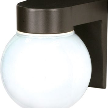 "8"" Utility Light, Outdoor Wall Light with White Glass Globe"