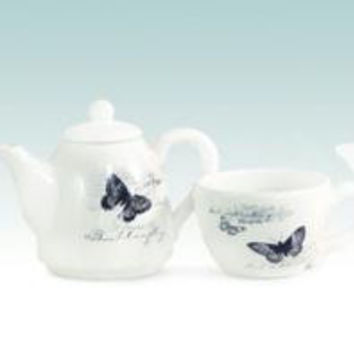 Tea Cup And Pot - Butterfly