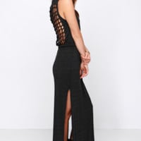 Chaser Knot Back Heather Black Maxi Dress