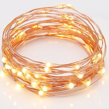 String Lights, Addlon Super Bright Wire Rope Lights Battery Operated on 6.6 Ft/2M 20Leds Ultra Thin String Copper Wire For Party,Wedding,Home Decor,Bedroom (Warm White)
