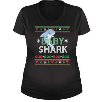Baby Shark Challenge Ugly Christmas Maternity Pregnancy Scoop Neck T-Shirt