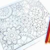 Mandala Coloring Pages Set of 3 Printable by JoArtyJo on Etsy
