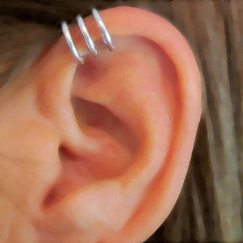 No Piercing Men's / Unisex Ear Cuff Circles by ArianrhodWolfchild