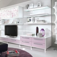 Sectional lacquered TV wall system Nilde Collection by Cucine Lube