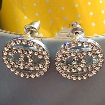 Chanel 2018 female popular logo fashion round full diamond hollow temperament earrings F-QSSP-DP silver