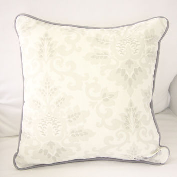 Lovely Damask Baby Bedding | Vintage Gray and Pink Square Pillow Cover