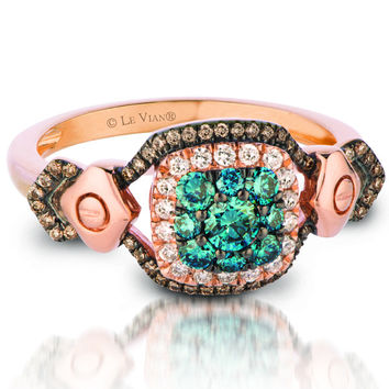Le Vian® Chocolate and Blueberry Diamond® Cushion Shaped Halo Ring Set in 14K Strawberry Gold®
