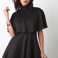 Turtleneck Cape Flare Dress