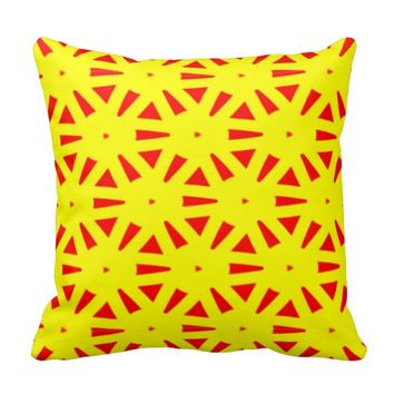 Modern Bold Yellow and Red Suns Abstract Throw Pillows