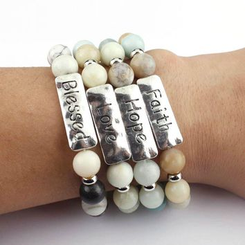 Boho Vintage Adjustable Stamp Natural Amazonite Stone Personalized Bracelets
