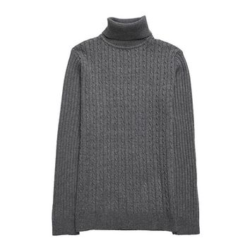 Winter New Men's Fashion Turtleneck Sweater Casual Slim Color Thick Warm Knitting Pullover Sweater