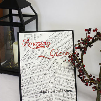 8.75x12 Inspirational Amazing Grace Hand-painted Wooden Plaque with Hymn Pages Background