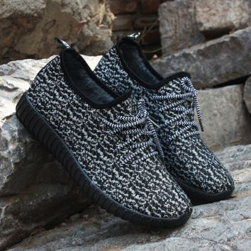 Womens Black Yeezy Boost Sneakers Running Sports Shoes