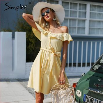 Simplee Ruffle off shoulder summer dress women Streetwear sash casual dress cotton Button backless yellow short dress vestidos