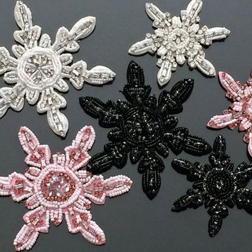 Upscale snowflake tassel handmade beaded patch vintage applique Diy T-shirt jacket sweater sock sew on decoration patches