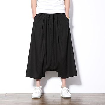 New Summer Harem Pants Men Wide Leg Deep Crotch Casual Men Pants Drawstring Loose Skirt Pant Hip Hop Streetwear Sweatpants Boys
