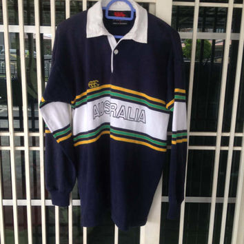 Vintage Canterbury rugby jersey polo shirt australia embroidery Small size