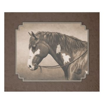 Native American Pinto War Horse in Sepia Fleece Blanket