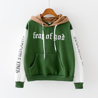 Fear Of God Womens Brown White Green Hooded Sweatshirt New Embroidery Stitching Thickened Cashmere Hoodie Casual Short Female Pullover