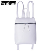 Westcreek Brand Simple Designer Small Backpack Women White and Black Travel PU Leather Backpacks Ladies Female Backbag Bagpack
