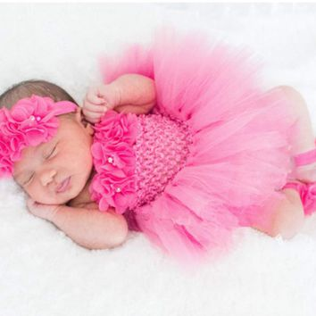 Cute Baby Tutu Dress Set Infant Girls Crochet Tulle Dress Tutus with Flower Headband and Foot Ring Newborn Birthday Party Dress