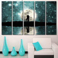 Kiss couple, Multi Panel, Love Wall Decor, LARGE Tree Canvas Set of 5 or 3 or 1, Panels Wall Décor, Canvas Print,moon night romance
