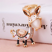1PC Charm Donkey Keychain Crystal Keyring Rhinestone Pendant Bag Key Chain Ring
