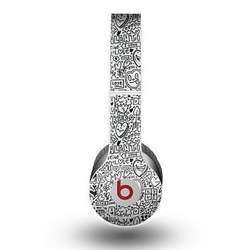 The Black and White Valentine Sketch Pattern Skin for the Beats by Dre Original Solo-Solo HD Headphones