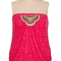 Plus Size - Embellished Slub Knit Tube Top - Pink