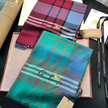 BURBERRY High Quality Trending Stylish Embroidery Plaid Cashmere Cape Scarf Scarves Shawl Accessories