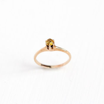 Vintage Art Deco 10k Rose Gold Simulated Citrine OB Ring - Size 2 1/2 1920s Edwardian Ostby & Barton Yellow Glass Fine Raised Jewelry