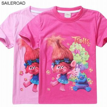SAILEROAD 4-11Y New Cartoon Trolls summer children kids girls tees t shirt  fashion clothing cute design girls princess t shirt