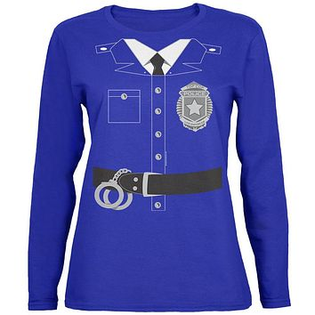 Halloween Police Policeman Cop Costume Womens Long Sleeve T Shirt