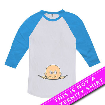 Pregnancy Announcement T Shirt Peeking Baby Peek A Boo Maternity Gifts For Expecting Mother To Be American Apparel Unisex Raglan MAT-266