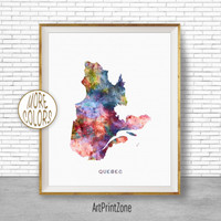 Quebec Art Print Quebec Print, Office Art Print, Watercolor Map Quebec Map Print, Map Art Office Decorations, Country Map, Art Print Zone