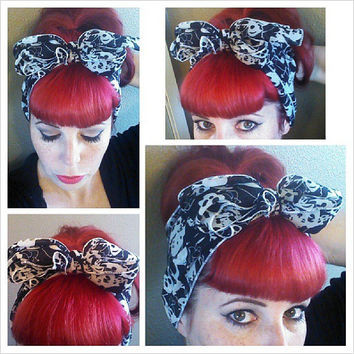 Skulls Vintage Style Hair Scarf Headwrap Hair Bow 1940s 1950s Rockabilly - Pin Up - For Women, Teens